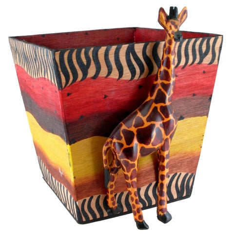 Handmade Jacaranda Giraffe Planter (Kenya) - multi-color/Multi
