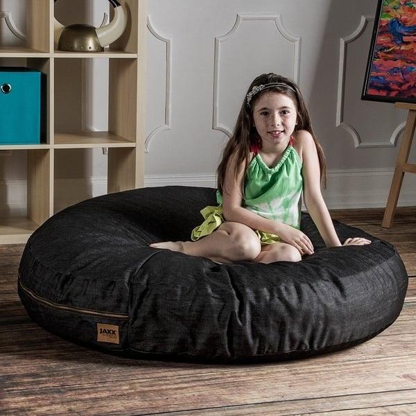 Stupendous Shop Jaxx 4 Foot Cocoon Bean Bag Chair With Denim Cover Cjindustries Chair Design For Home Cjindustriesco