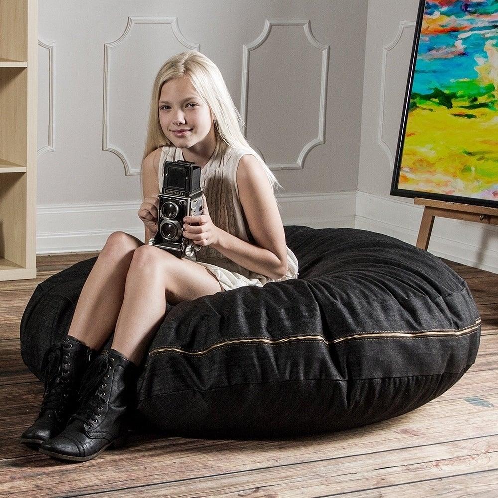 Admirable Jaxx 4 Foot Cocoon Bean Bag Chair With Denim Cover Cjindustries Chair Design For Home Cjindustriesco