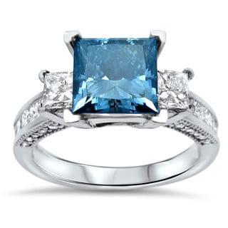 Noori 14k White Gold 2 9/10ct TDW Blue Princess-cut Diamond Engagement Ring (SI1-SI2)