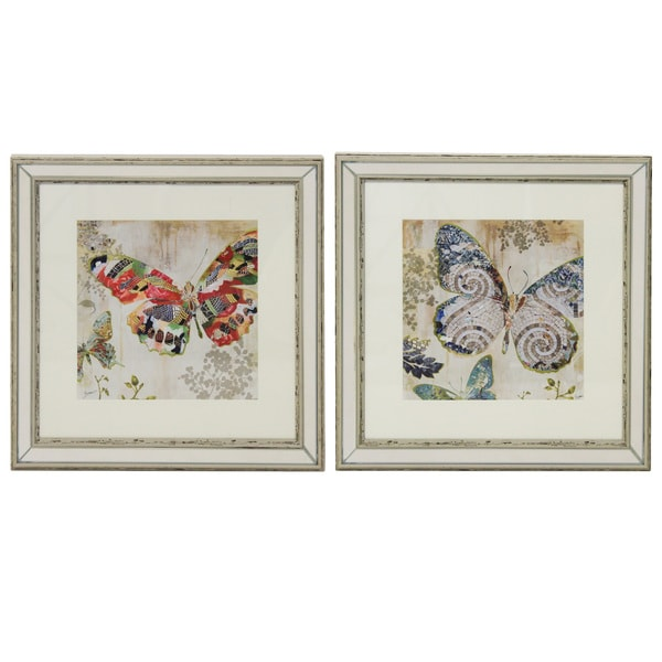 set of 2 butterfly framed wall art free shipping today. Black Bedroom Furniture Sets. Home Design Ideas