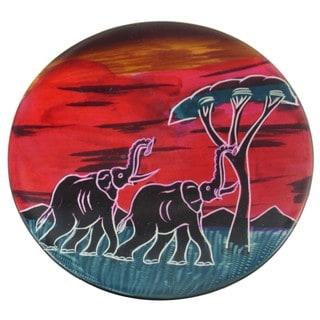 """African Sunset"" Soapstone Round Plate (Kenya)"