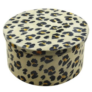 Handmade Round Leopard Print Trinket Box (Kenya)