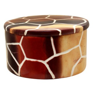 Giraffe Skin Pattern Round Trinket Box - Handmade in Kenya