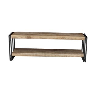 Timbergirl Handcrafted Reclaimed Wood and Metal Bench with Shelf (India)