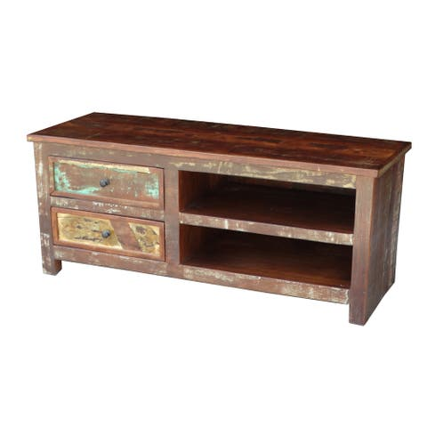 """Handmade Multicolor Recycled Wood TV Stand (India) - 48"""" x 18"""" x 20"""""""