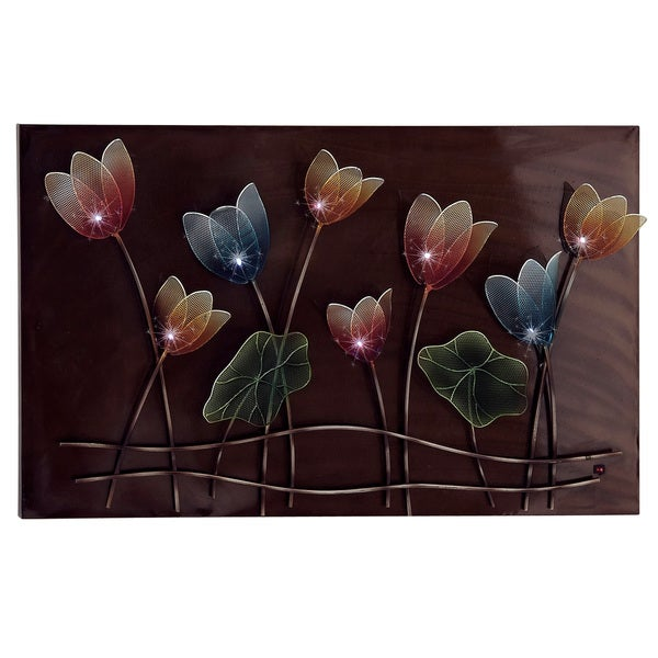 Led Wall Art spring flowers hand-crafted led lights metal wall art decor - free