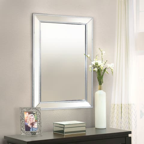Abbyson Venice Glam Silver Rectangle Wall Mirror