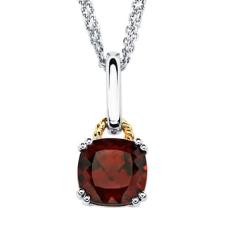 Boston Bay Diamonds 18k Gold and Sterling Silver Custhion-cut Garnet Pendant