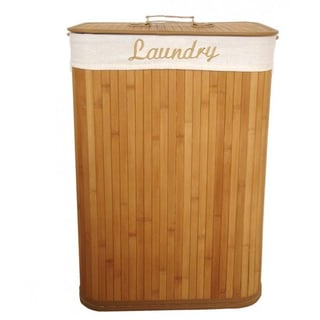 Home Basics Rectangle Natural Bamboo Laundry Hamper