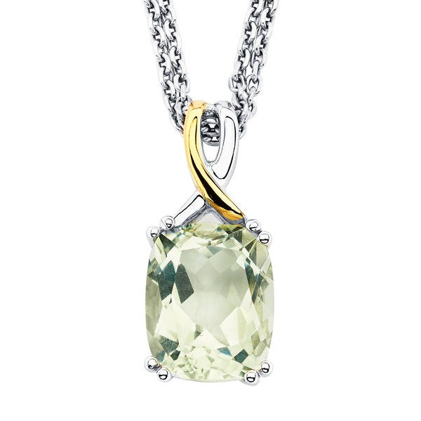 Shop boston bay diamonds 18k yellow gold and 925 sterling silver boston bay diamonds 18k yellow gold and 925 sterling silver cushion cut green amethyst pendant aloadofball Image collections