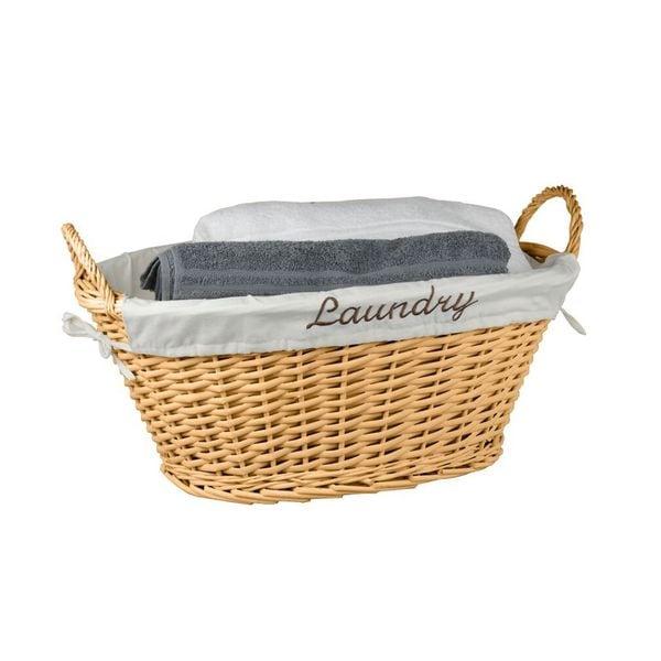Home Basics White Wicker Laundry Hamper with Liner