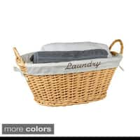 Home Basics White Wicker Laundry Hamper with Liner