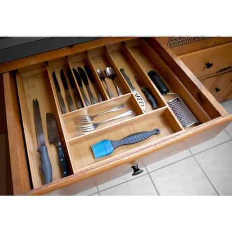 Home Basics Bamboo Expandable Cutlery Tray - Brown