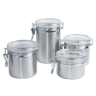 Home Basics 4-piece Stainless Steel Canister Set
