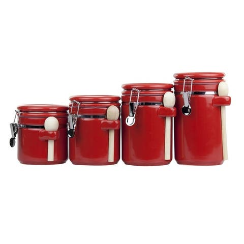Home Basics 4-piece Ceramic Canister Set with Spoon