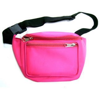 Neon Pink 2-pocket Adjustable Strap Fanny Pack