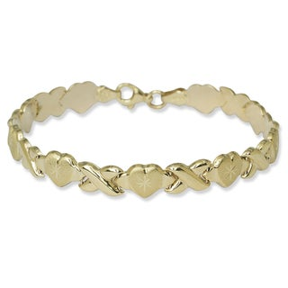 10k Gold 7.25-Inch Hugs and Kisses Stampato Bracelet
