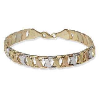 10k Tri-color Gold 7-inch X-motif Stampato Bracelet