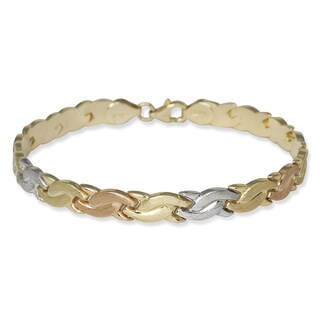 10k Tri-color Gold 7-inch Satin Wave Stampato Bracelet