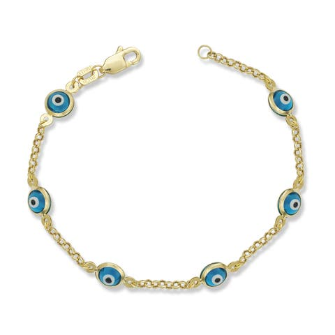 Children's 14k Yellow Gold Enamel Evil Eye 5-inch Charm Bracelet