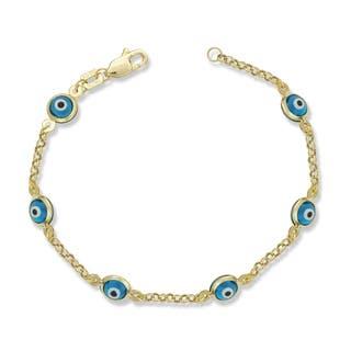 Children's 14k Yellow Gold Enamel Evil Eye 5-inch Charm Bracelet