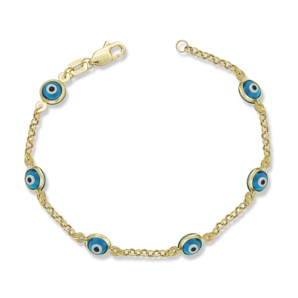 Children X27 S 14k Yellow Gold Enamel Evil Eye 5 Inch Charm Bracelet