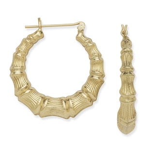 10k Yellow Gold Large Bamboo Hoop Earrings
