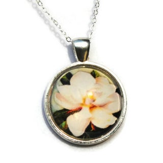 Atkinson Creations White Magnolia Flower Glass Dome Pendant Necklace with Sterling Silver Chain