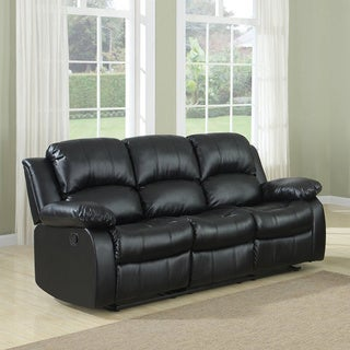 3-seat Double Recliner Bonded Leather Sofa