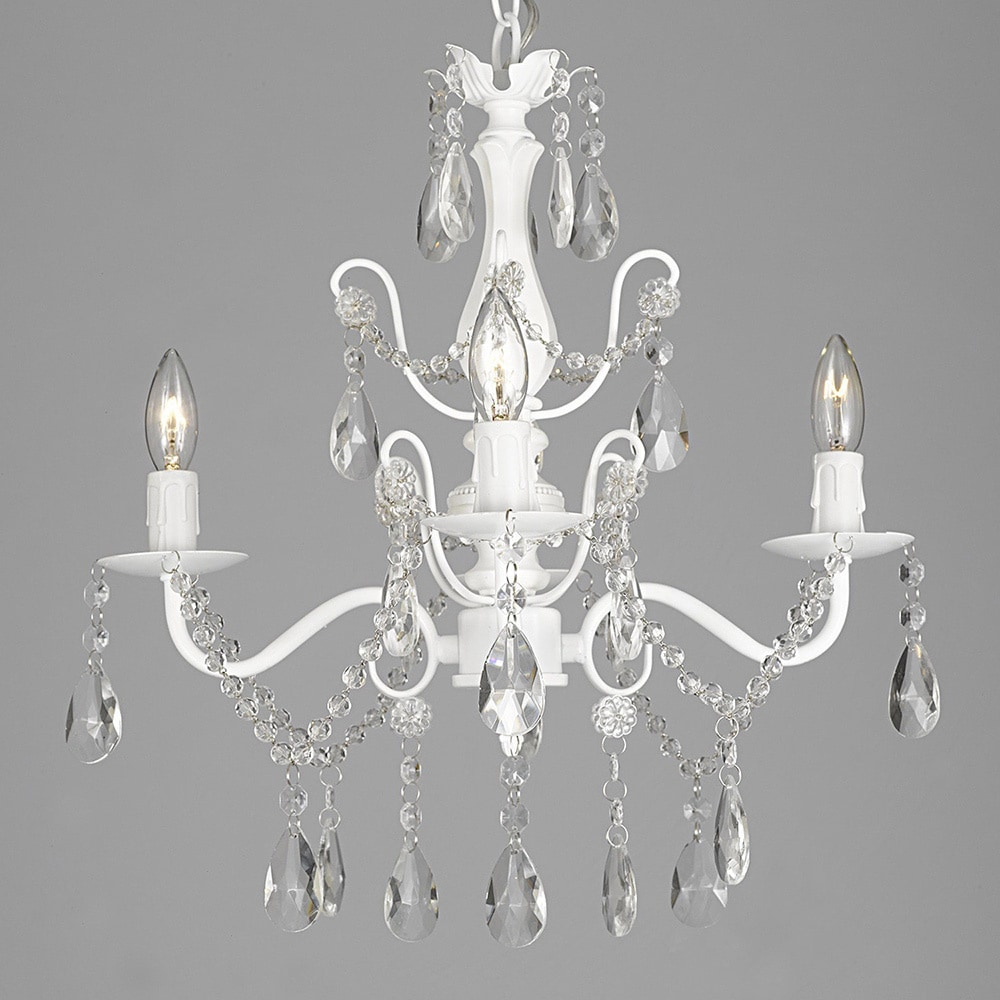 Shop wrought iron and crystal white 4 light chandelier pendant wrought iron and crystal white 4 light chandelier pendant aloadofball Choice Image