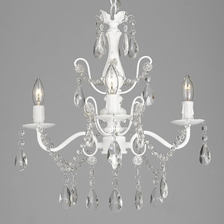 Silver Orchid Keaton Wrought Iron and Crystal White 4-light Chandelier Pendant
