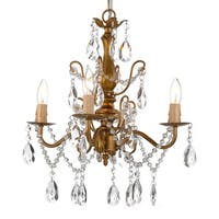 Copper Grove Lutea Wrought Iron and Crystal Gold 4-light Chandelier Pendant