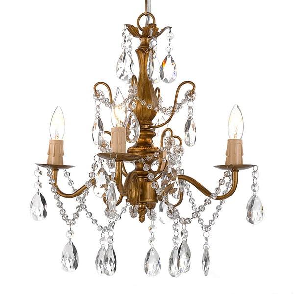 Laurel Creek Harper Wrought Iron and Crystal Gold 4-light Chandelier Pendant