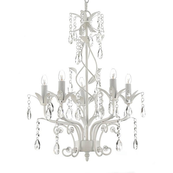 Wrought Iron and Crystal White 5-light Chandelier Pendant - Free ...