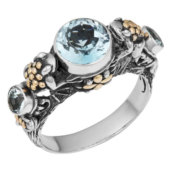 Handmade Sterling Silver, 18K Gold, Blue Topaz Tropical Frogs Cawi Ring (Indonesia)