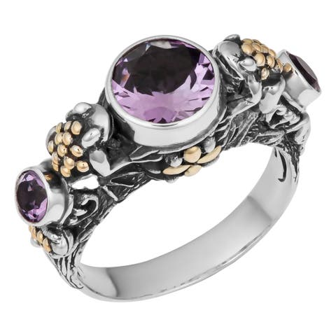 Handmade Gold and Silver Amethyst Tropical Frogs Ring (Indonesia)