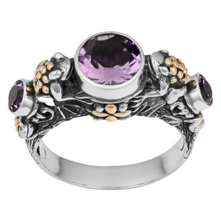 Handmade Sterling Silver, 18K Gold, Amethyst Tropical Frogs Cawi Ring (Indonesia)