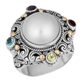 Sterling Silver, 18k Gold, Mabe Pearl Multi-gemstone Cawi Ring (Indonesia)