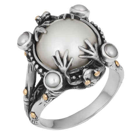 Handmade Silver and Gold Mabe Pearl Tropical Frog Ring (Bali)