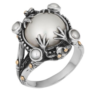 Handmade Silver and Gold Mabe Pearl Tropical Frog Ring (Indonesia)