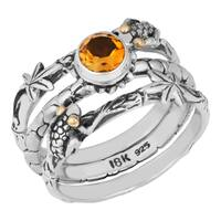 Handmade Gold and Sterling Silver Citrine Frog Stack Ring (Indonesia)