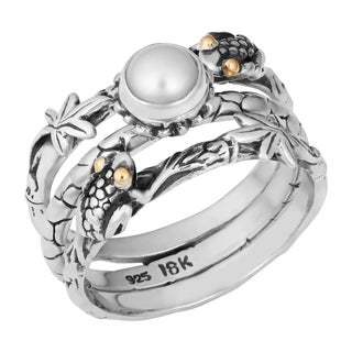 Sterling Silver, 18K Gold, Mabe Pearl Tropical Frog Triple Stack Cawi Ring (Indonesia)