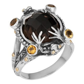 Sterling Silver, 18K Gold, Smoky Quartz and Citrine Cawi 'Tropical Frog' Ring (Indonesia)