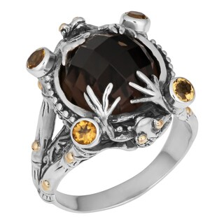 Handmade Gold and Sterling Silver Quartz Citrine Frog Ring (Indonesia)
