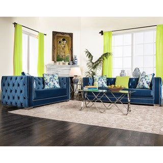 Furniture of America Giselle 2-piece Contemporary Premium Velvet Sofa Set