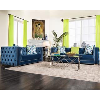 Furniture Of America Gie 2 Piece Contemporary Premium Velvet Sofa Set