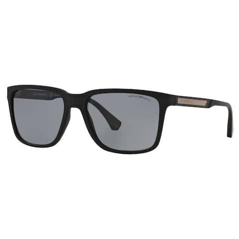 b790f9a9b3a5 Emporio Armani Men s EA4047 Square Polarized Sunglasses - Black