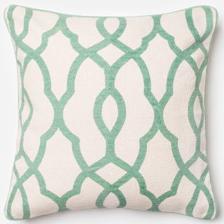 Ledbury Ivory/ Light Green Trellis Down Feather or Polyester Filled 22-inch Throw Pillow or Pillow Cover