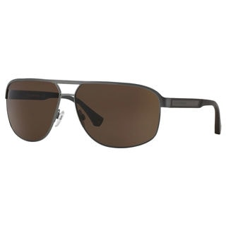 Emporio Armani Men's EA2025 Metal Rectangle Sunglasses